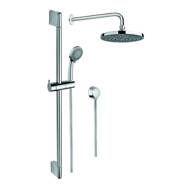 Shower System, Gedy SUP1022, Chrome Shower System with Hand Shower and Sliding Rail, Showerhead, and Water Connection