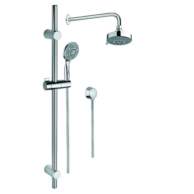 Shower System, Gedy SUP1023, Chrome Shower Solution with Hand Shower with Sliding Rail, Showerhead, and Water Connection
