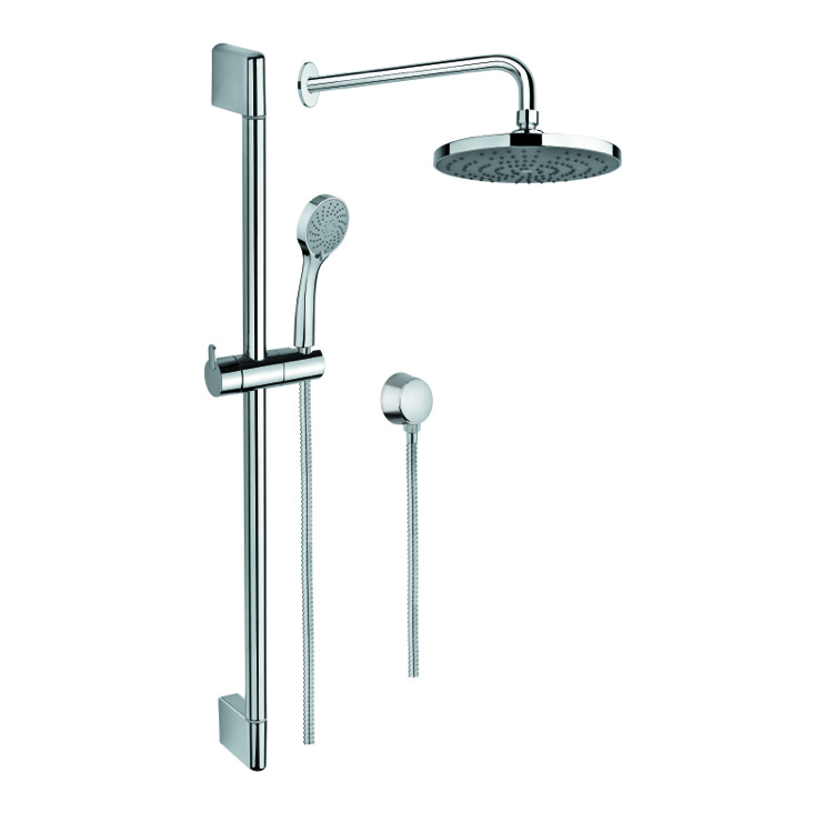 Shower System, Gedy SUP1025, Shower System with Hand Shower with Sliding Rail, Showerhead, and Water Connection
