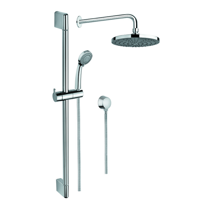 Shower System, Gedy SUP1036, Polished Chrome Shower System with Hand Shower and Sliding Rail, Showerhead, and Water Connection