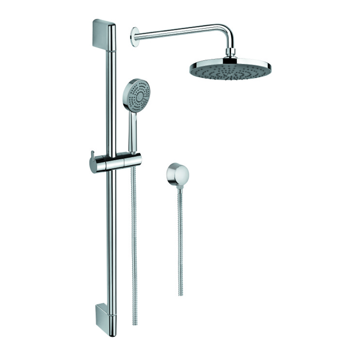 Shower System, Gedy SUP1037, Polished Chrome Shower System with Personal Hand Shower and Sliding Rail, Showerhead, and Water Connection