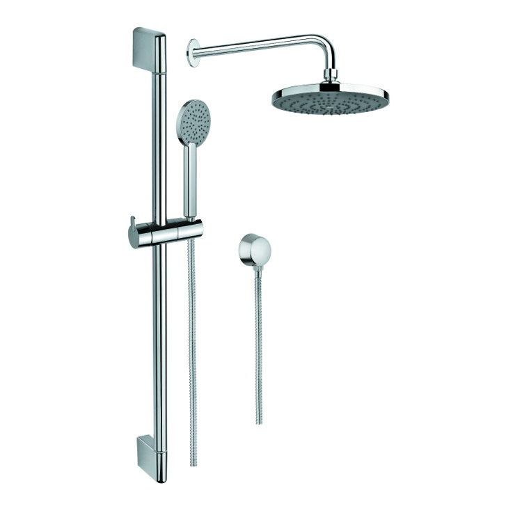 Shower System, Gedy SUP1040, Polished Chrome Shower Solution with Hand Shower, Sliding Rail, Showerhead, and Water Connection