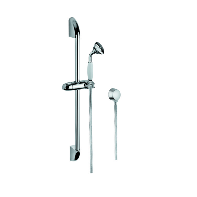 Handheld Showerhead, Gedy SUP1047, Chrome Shower System with Hand Shower, Water Connection, and Sliding Rail