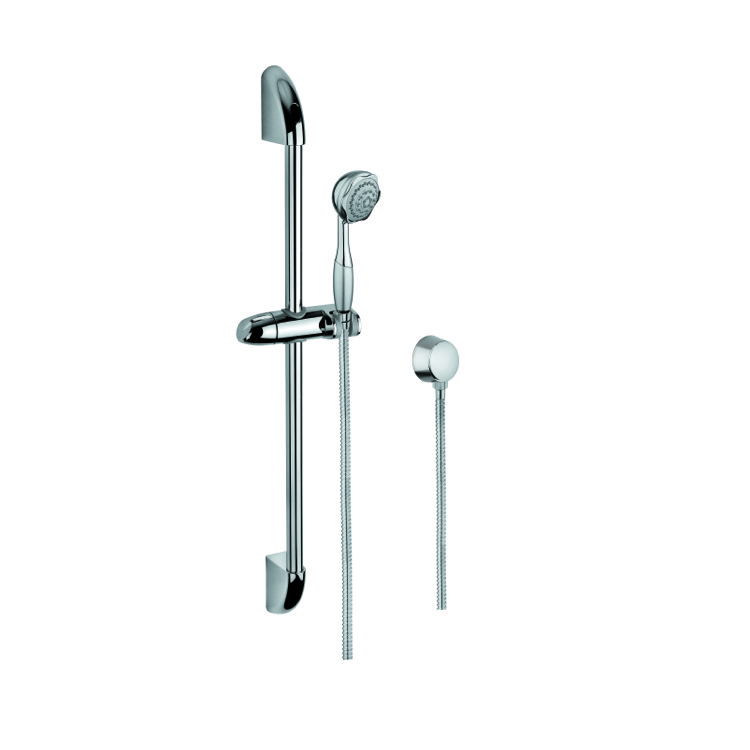Handheld Showerhead, Gedy SUP1048, Chrome Shower Solution with Hand Shower, Sliding Rail, and Water Connection