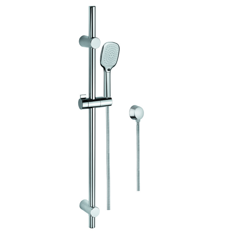 Handheld Showerhead, Gedy SUP1117, Polished Chrome Hand Shower, Water Connection, and Sliding Rail