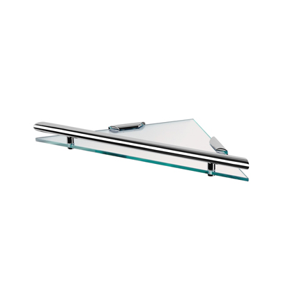 Bathroom Shelf, Geesa 6521-02, Triangular Clear Glass Bathroom Shelf