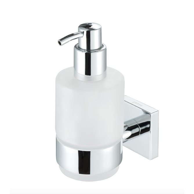 Soap Dispenser, Geesa 6816-02, Chrome Brass and Frosted Glass Soap Dispenser