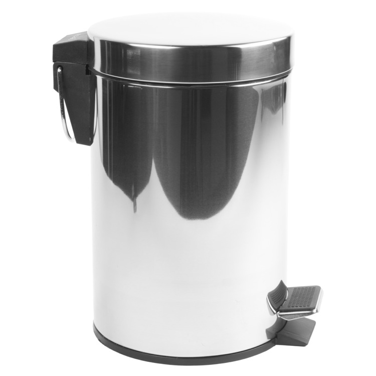 Waste Basket, Geesa 634, Round Chrome Bathroom Waste Bin With Pedal