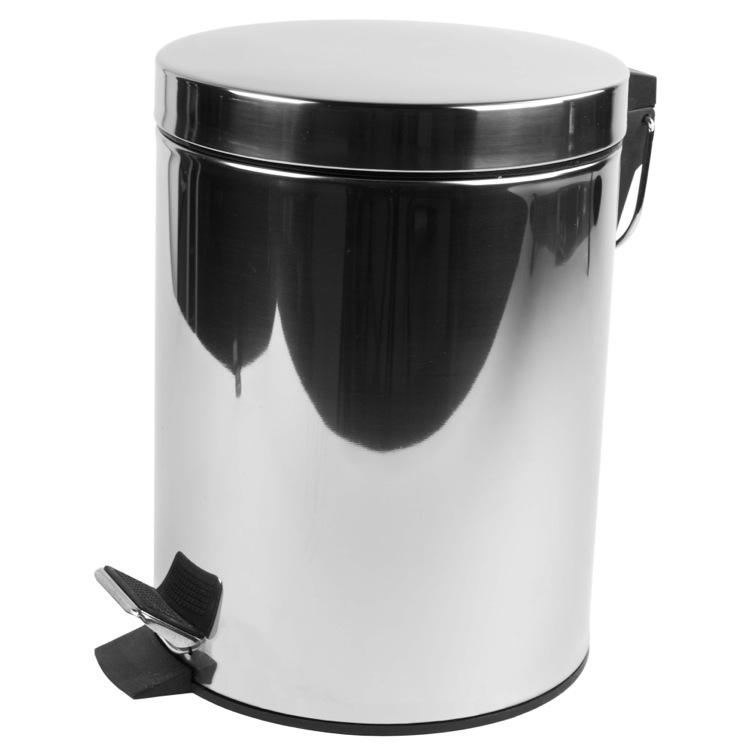Waste Basket, Geesa 635, Chrome Free Standing Round Bathroom Waste Bin With  Pedal
