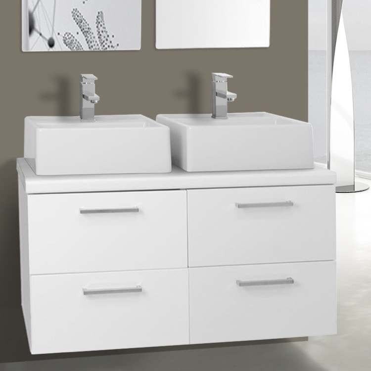 Bathroom Vanity Iotti An26 37 Inch Glossy White Double Vessel Sink