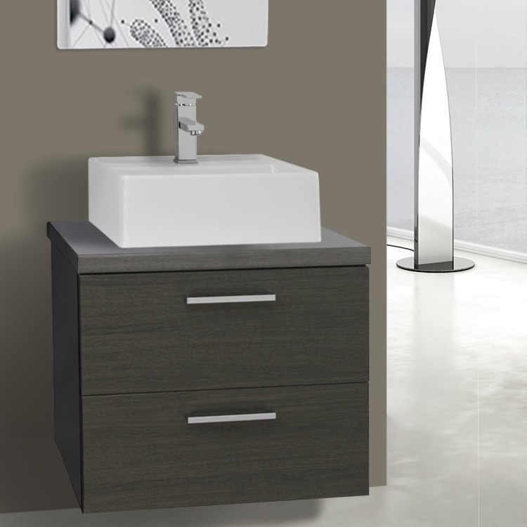 Bathroom Vanity, Iotti AN47, 22 Inch Grey Oak Vessel Sink Bathroom Vanity, Wall Mounted