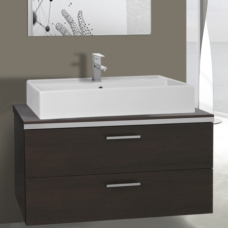 Bathroom Vanity, Iotti AN90, 38 Inch Wenge Vessel Sink Bathroom Vanity, Wall Mounted