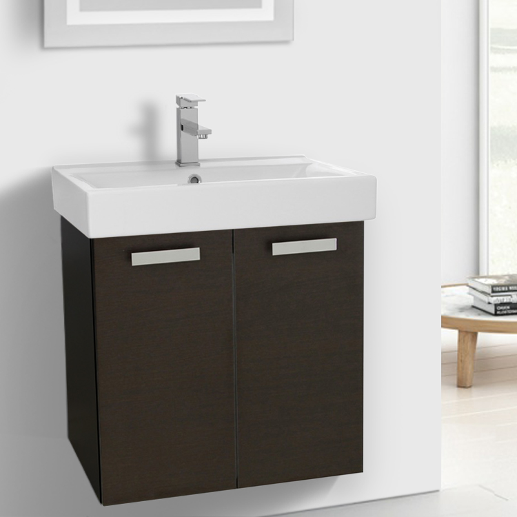 Bathroom Vanity, ACF C142, 24 Inch Wenge Wall Mount Bathroom Vanity with Fitted Ceramic Sink