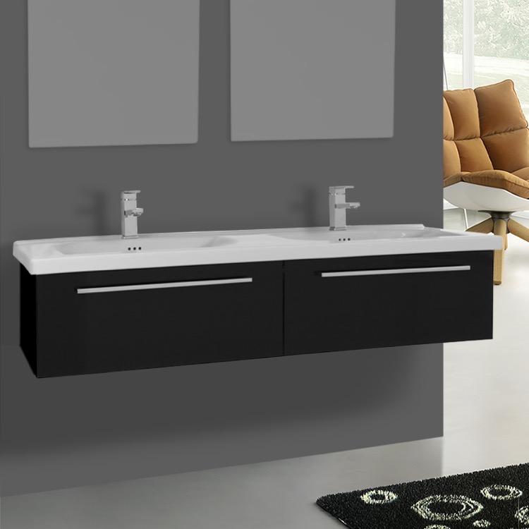 Bathroom Vanity Iotti Fn32 56 Inch Glossy Black Wall Double Set