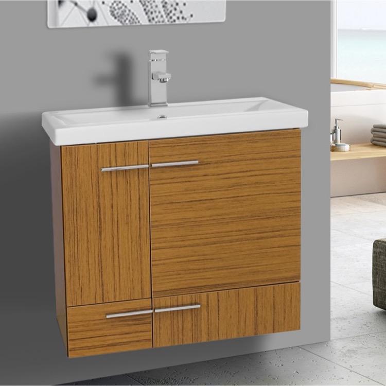 Bathroom Vanity, Iotti NS200, 24 Inch Teak Wall Mounted Vanity with Ceramic Sink