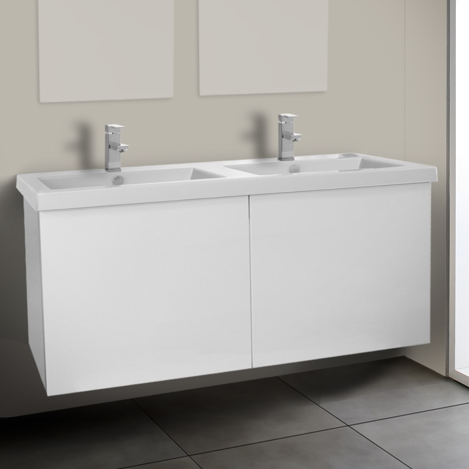 Bathroom Vanity, Iotti SE26, 47 Inch Glossy White Double Bathroom Vanity with Ceramic Sink