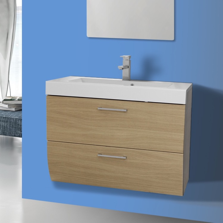 Bathroom Vanity, Iotti NN1C-Natural Oak, 2 Drawers Vanity Cabinet with Self Rimming Sink