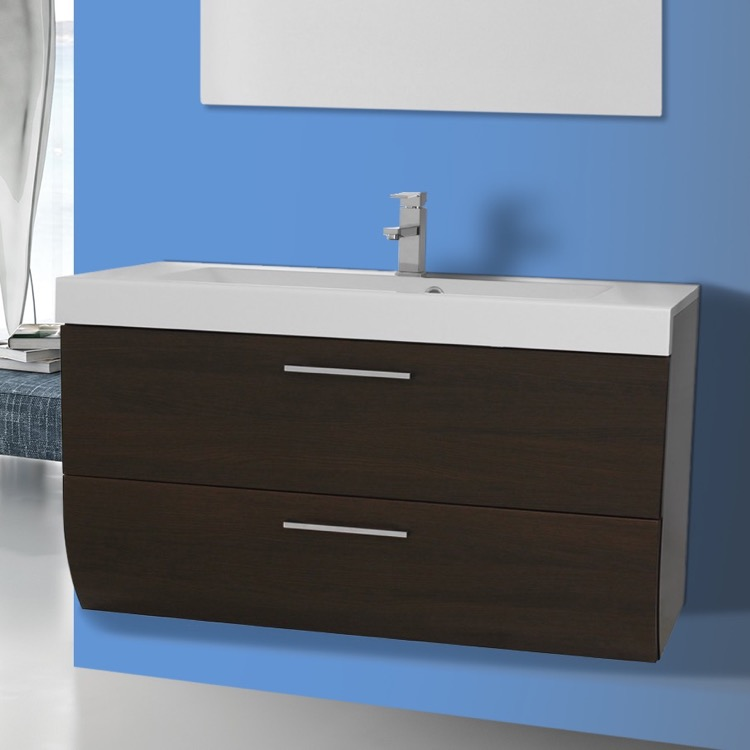 Bathroom Vanity, Iotti NN2C-Wenge, 2 Drawers Vanity Cabinet with Self Rimming Sink