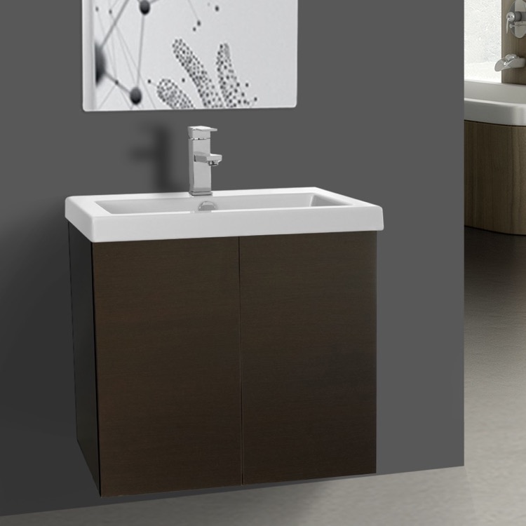 Bathroom Vanity, Iotti SE01C-Wenge, Wenge Vanity Cabinet with Self Rimming Sink and 2 Doors