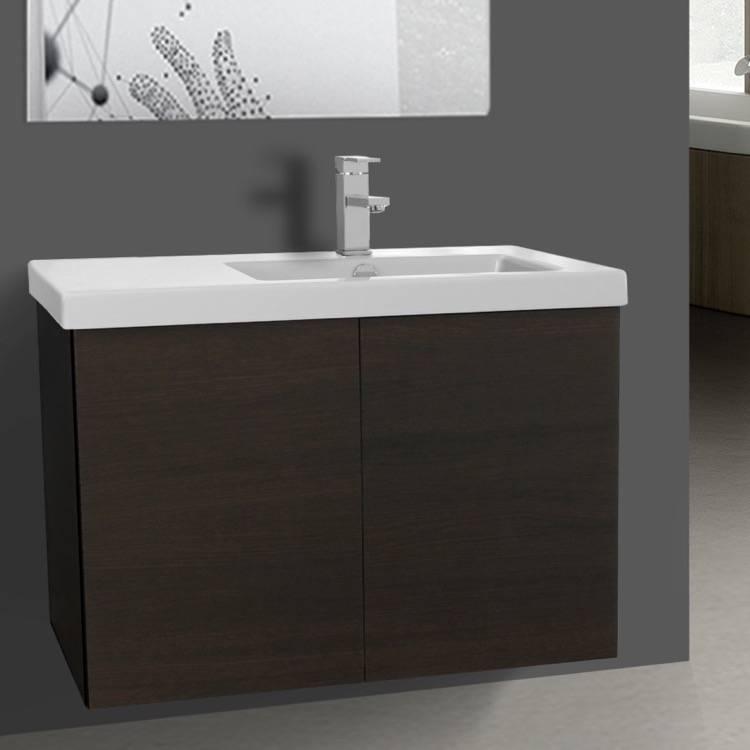 Bathroom Vanity, Iotti SE07C-Wenge, 31 Inch Vanity Cabinet with Self Rimming Sink