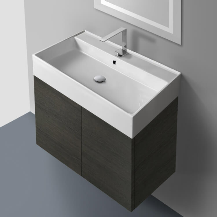 Bathroom Vanity, Iotti SM03C-Gray Oak, 31 Inch Vanity Cabinet with Self Rimming Sink