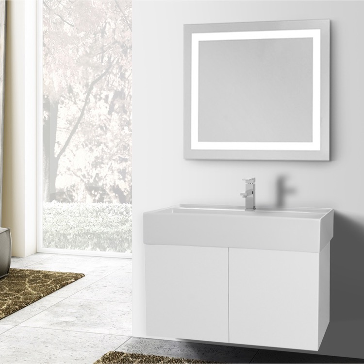 Bathroom Vanity, Iotti SM239, 31 Inch Glossy White Bathroom Vanity, Wall Mounted, Lighted Mirror Included