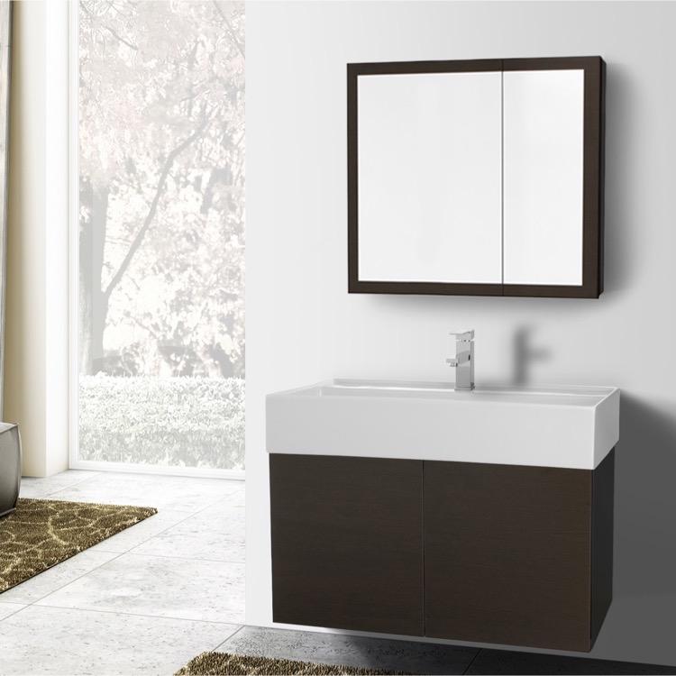 Bathroom Vanity, Iotti SM78, 31 Inch Wenge Bathroom Vanity With Ceramic  Sink, Medicine