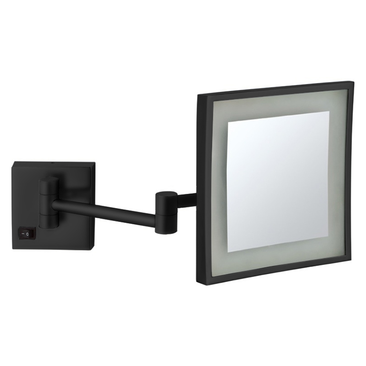 Makeup Mirror, Nameeks AR7701-BLK-5x, Matte Black Square Wall Mounted LED 5x Magnifying Mirror, Hardwired