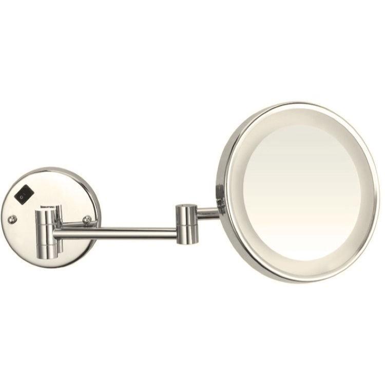 Makeup Mirror, Nameeks AR7703-SNI-3x, Satin Nickel Round Wall Mounted 3x Magnifying Mirror with LED, Hardwired