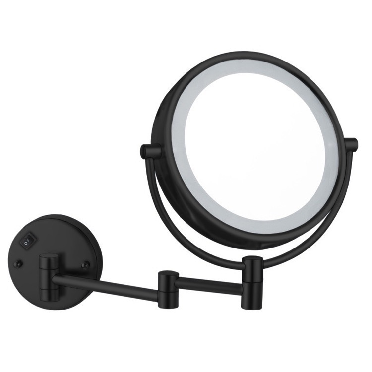 Makeup Mirror, Nameeks AR7705-BLK-5x, Matte Black Double Face LED 5x Magnifying Mirror, Hardwired