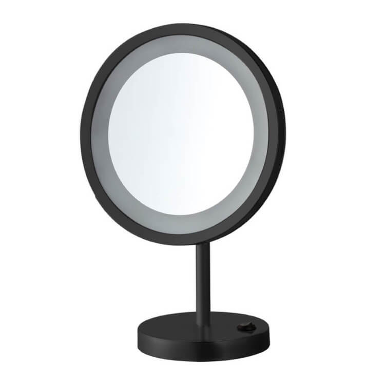 Makeup Mirror, Nameeks AR7729-BLK-10x, Matte Black Free Standing 10x LED Makeup Mirror