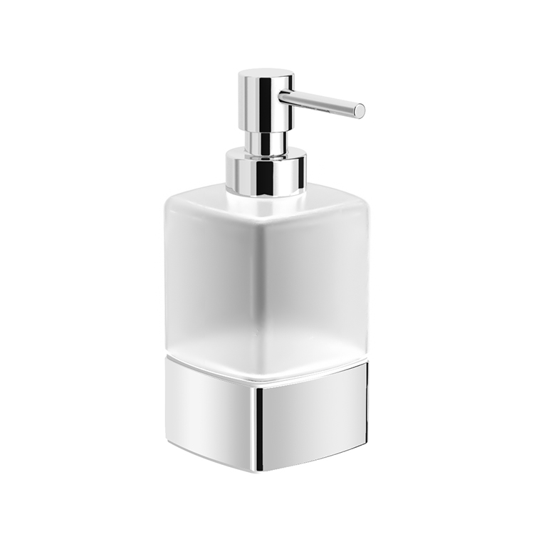 Soap Dispenser, Nameeks NNBL0074, Frosted Glass Soap Dispenser With Chrome Base