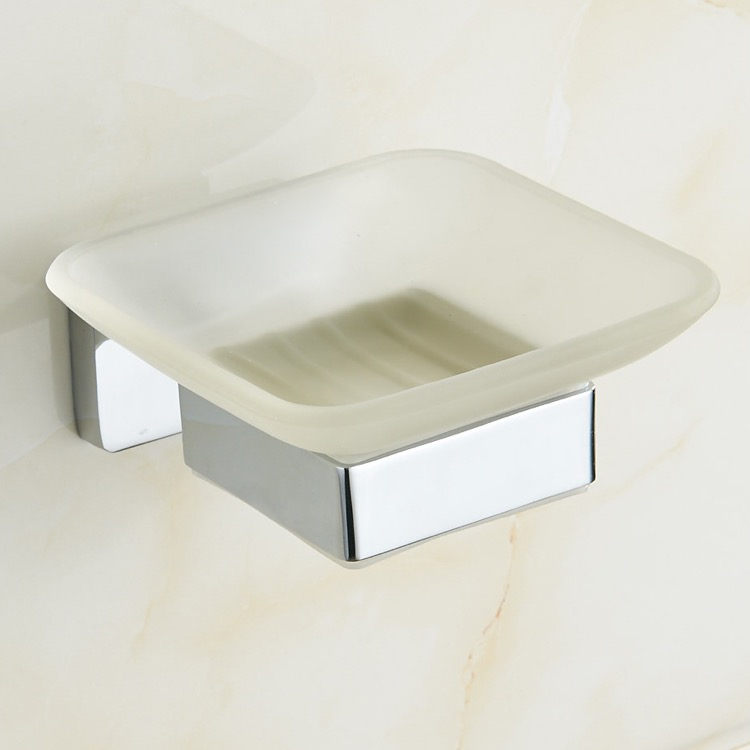 Soap Dish, Nameeks NCB19, Chrome Wall Mounted Frosted Glass Soap Dish