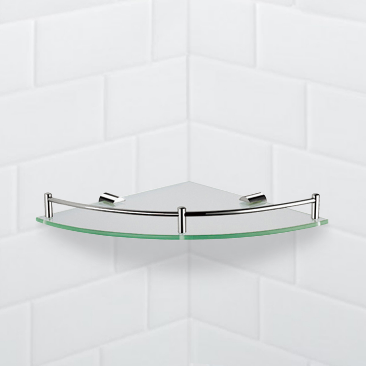 Bathroom Shelf, Nameeks NFA012, Corner Glass Shelf With Chrome Mounting