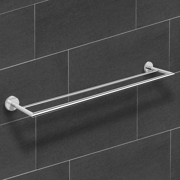 Towel Bar, Nameeks NNBL0026, 25 Inch Polished Chrome Double Towel Bar