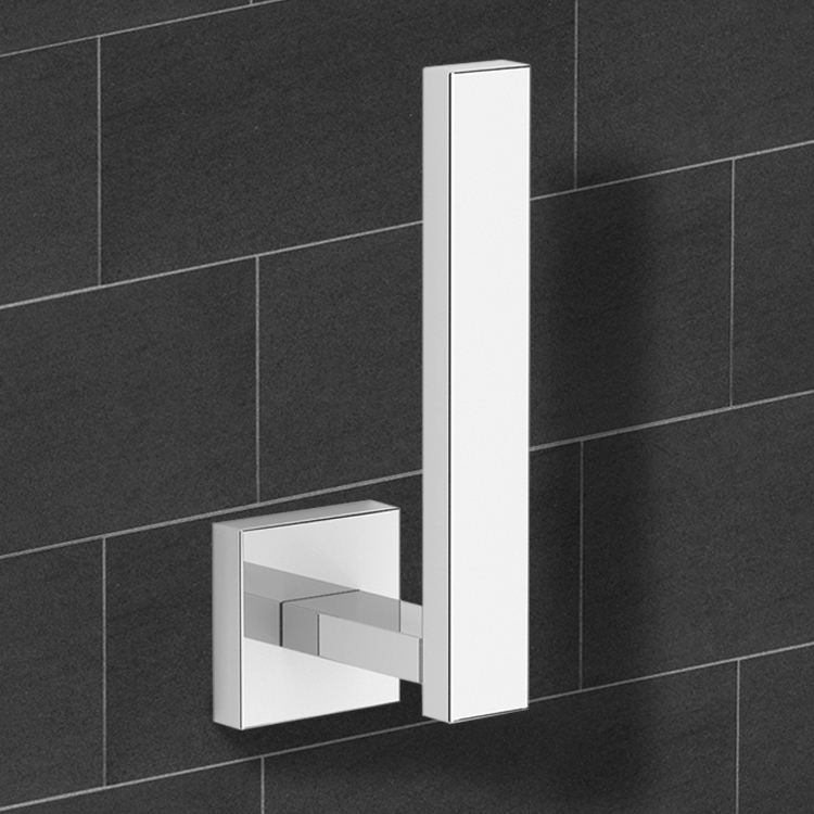 Toilet Paper Holder, Nameeks NNBL0077, Modern Square Chrome Vertical Toilet Paper Holder
