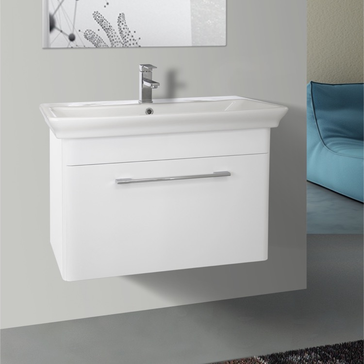 Bathroom Vanity, Nameeks PA-W01, 32 Inch Wall Mounted White Vanity Cabinet With Fitted Sink