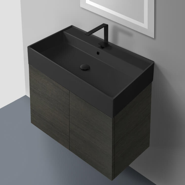 Bathroom Vanity, Nameeks SM32-49-Grey Oak, 32 Inch Grey Oak Vanity Set with Matte Black Sink