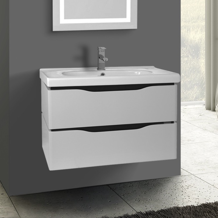 Bathroom Vanity Nameeks Vn W02 31 Inch Wall Mounted White Cabinet With