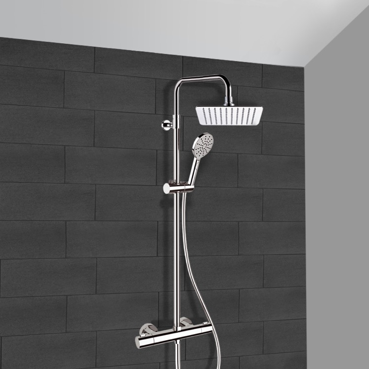 exposed pipe shower . Exposed Pipe Shower  Remer SC545 Chrome Thermostatic System With 8 Elegance Nameek S
