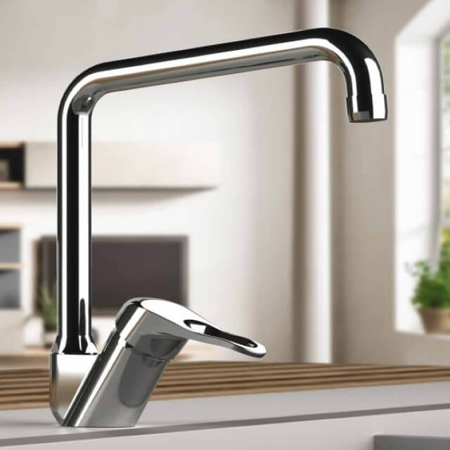 Kitchen Sink Faucet, Remer K42U, Chrome Sink Faucet with Swivel Spout