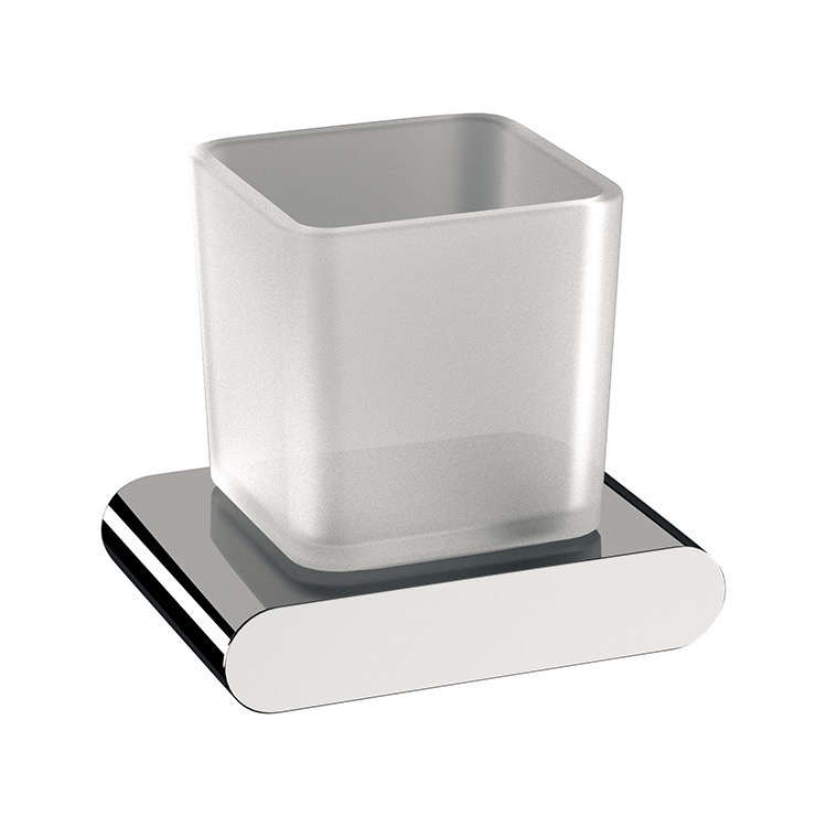 Toothbrush Holder, Remer LN15, Wall Mounted Frosted Glass and Brass Toothbrush Holder
