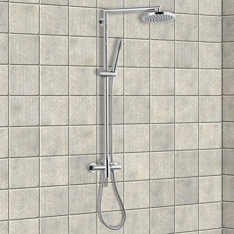 Exposed Pipe Shower, Remer N37B, Chrome Shower Column With Overhead Shower, Sliding Rail and Hand Shower