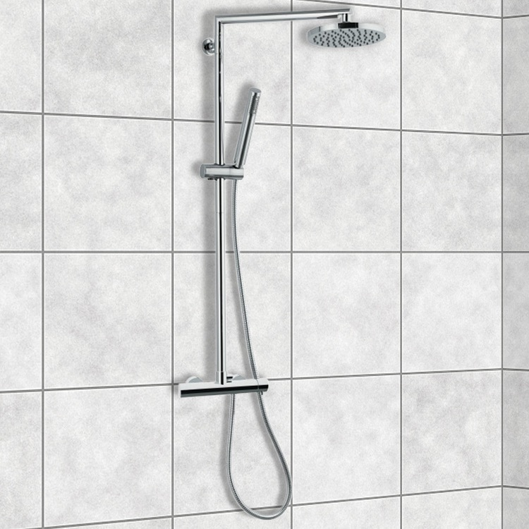Exposed Pipe Shower, Remer N37RB, Chrome Shower System With Overhead Shower, Hand Shower, and Sliding Rail