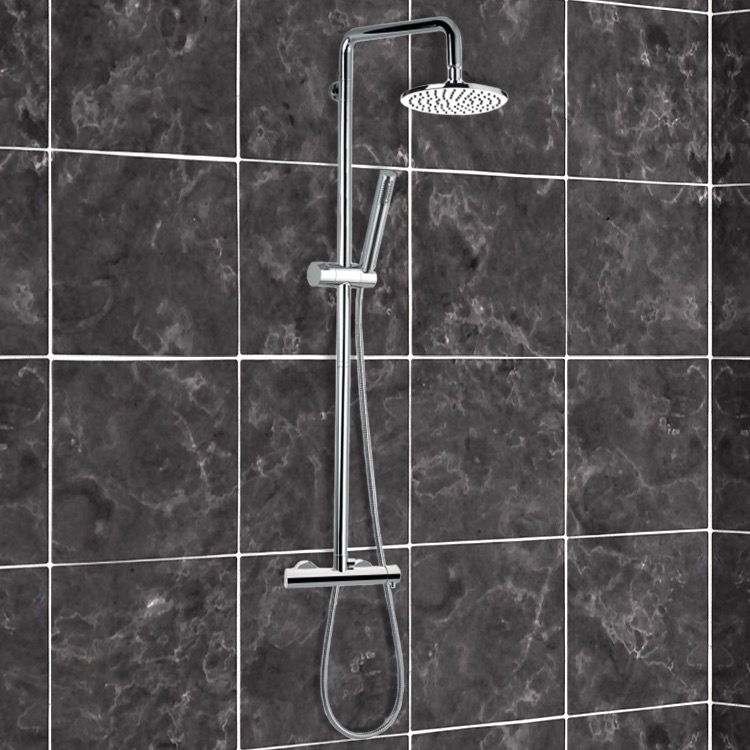 Exposed Pipe Shower, Remer N37R, Chromed-Brass Shower Column With Overhead Shower, Sliding Rail, and Hand Shower