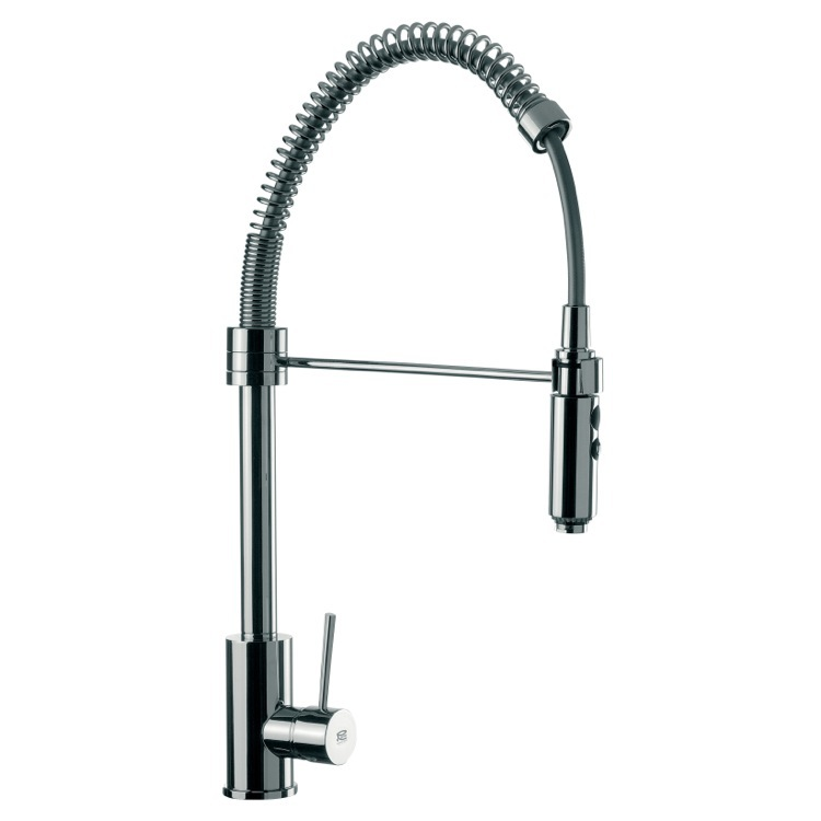Kitchen Sink Faucet, Remer N87US, Round Body Chrome Mixer With Spring Spout, Pull Out Hand Spray and Side Lever