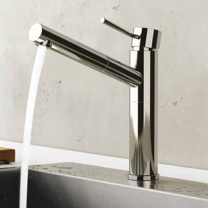 Kitchen Sink Faucet, Remer N47, Chrome Sink Faucet With Pull-Out Spout