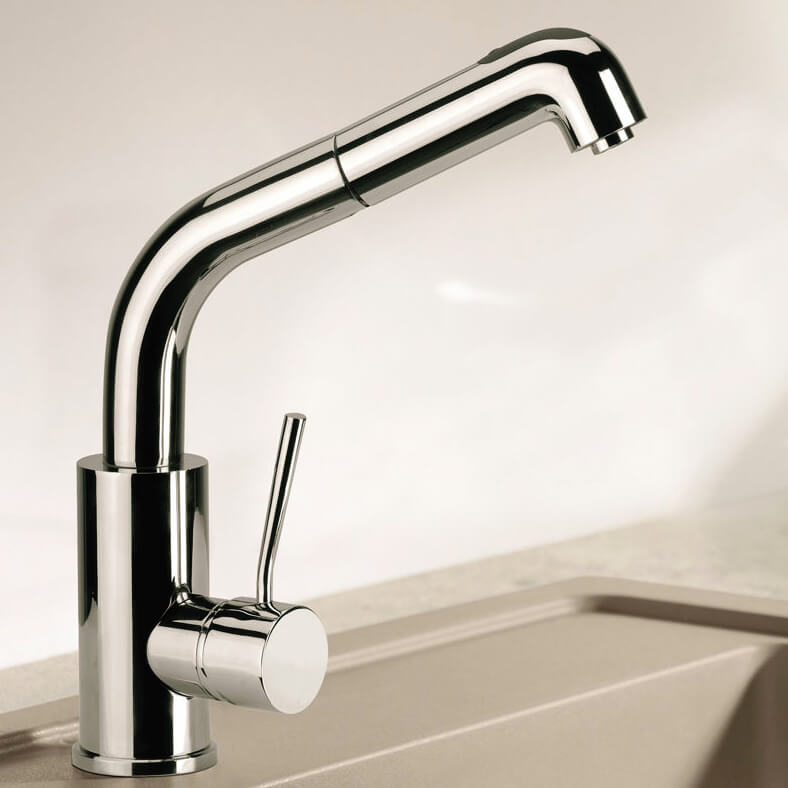 Kitchen Sink Faucet, Remer N83CUS, Single Lever Mixer With Squared Body and Pull Out, 2-Function Hand Spray
