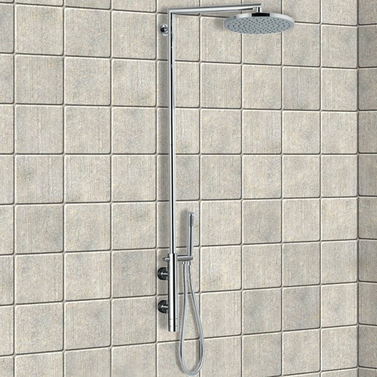 exposed pipe shower . Exposed Pipe Shower  Remer NT36BXLUS External Thermostatic Single Lever Mixer Set With Minimal Thermal Nameek S