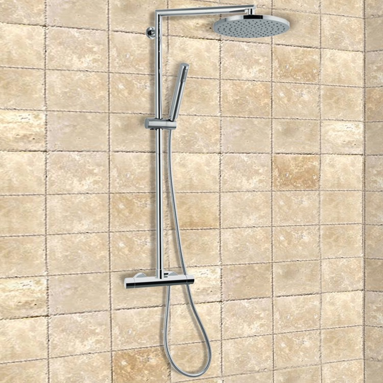 Exposed Pipe Shower, Remer NT37BXLUS, External Thermostatic Shower with Sliding Center and Diverter, Shower Head, and Hand Shower